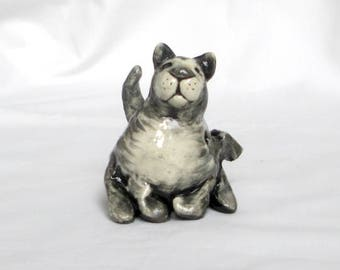 Gray Cat Clay Whistle