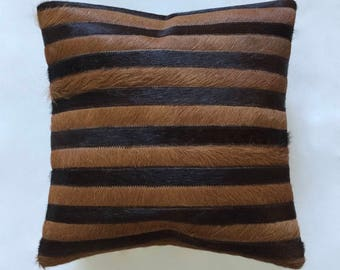 Cowhide Pillow - Brown Caramel Patchwork Cushion - 15 x 15 in