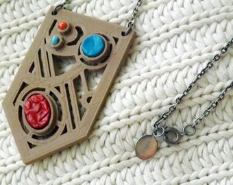 Ready-to-Ship OOAK 3d Printed Pendant on Ready-to-wear Necklace Recycleable PLA Leather Inlay Tooled Leather Beads Bamboo Wood A4