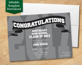 Silver and Black Graduation Invitation Template, High School Graduation Invitation, College Graduation Invitation, Graduation Party 2017