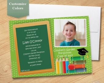Photo Pre-School Graduation Invitation, Elementary Graduation Invite, Graduation Announcement, Printed Invitation, Printable PDF