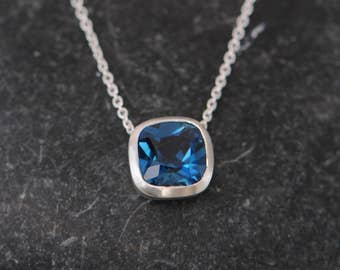 London Blue Topaz  Necklace - Blue Topaz Pendant - Square Pendant Necklace Design - Cushion Cut Blue Topaz Pendant - FREE SHIPPING