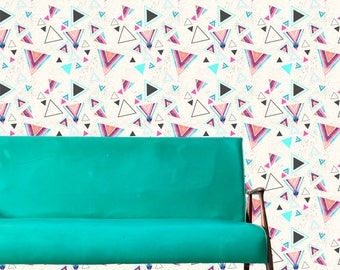 Removable 1990 Wallpaper- Memphis- Peel & Stick Self Adhesive Fabric Temporary Wallpaper-Repositionable-Reusable- FAST. EASY.