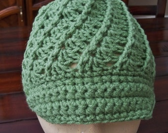 Crocheted Spiral  Bulky Ladies Winter Hat  Messy Bun Assorted colors or any color