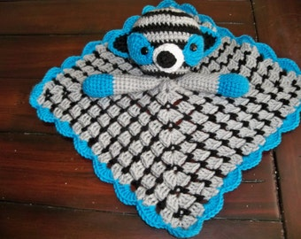 Crocheted Sock Raccoon Lovey  Turquoise and gray