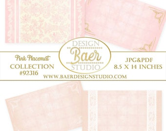 Printable Placemats, Pink Printable Placemats, Pink Lace Placemats, Pink and Ivory Placemats, Pink Digital Placemats, #92316