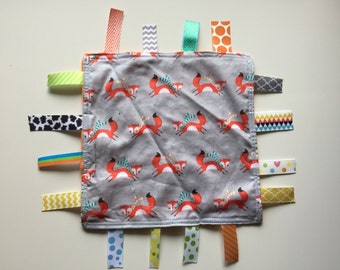 Running Foxes Tag Blanket with your choice of Minky //  In Stock, READY TO SHIP