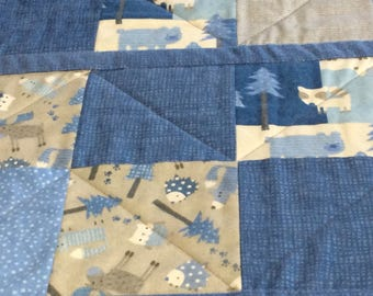Blue and Gray Woodland Flannel Patchwork Baby Quilt, Toddler Nap Blanket, Newborn Quilt, Handmade Baby Quilt, Modern Baby Quilt