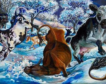 "Cows unframed Giclee Print 8""x18"" paper (Frozen Frolic)"