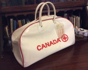 SALE markdown from 75 vintage luggage ...  Classic AIR CANADA duffel Bag ... Retro road trip luv ...