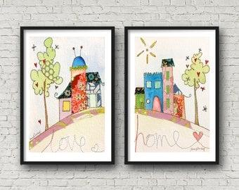 Home Sweet Home - New House - Love - Hillside - Print.