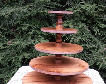Cupcake Stand, Wood Cupcake Stand, Stained Cupcake Stand, Round Stand, Cake Stand, Wedding Cupcake Stand, Rustic Stand, 5 Tier Stand