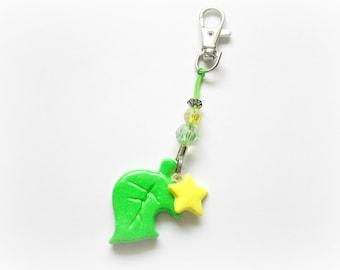 Animal Crossing New Leaf Inspired Keychain, New Leaf, Polymer Clay Keychain,Nintendo Charms, Gamer Charm, Kawaii Keychain, Cute Keychain