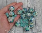 RESERVED, custom Water Garden Round Lampwork bead set (13, plus 16 spacers)