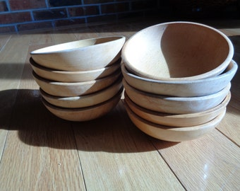 10 Rustic Country Style Solid Wooden Bowls, Machine Lathe Carved Bowls, Made in Japan, in their original clear varnish wood stain finish