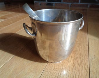 Vintage Small Ice Bucket, Electroplated bucket  with silver-plated tongs, Made in India with wonderful well developed tarnished patina