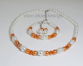 White and Orange Pearl Necklace, White Pearl Jewelry set, Orange & White Beaded Necklace, White and Orange Wedding, Orange Pearl Necklace