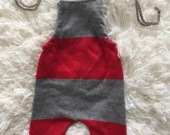 up cycled knit small newborn boy romper, red grey winter stripe, ready to ship newborn prop