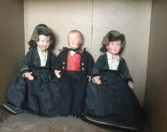 "French Vintage Dolls, set of 3 dolls, ""The Triplets"" 2 sisters 1 brother"