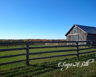 Country Farm Fence With Barn Print or Backdrop