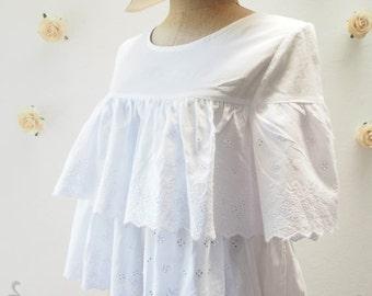 Flash SALE White Dreamy Blouse - Lace Layer Blouse - Beach Style - Summer Fluffy Blouse - White Blouse - Size M