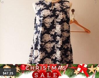 Christmas SALE Vintage Inspired Dress, Pockets Dress, Floral Bridesmaid Dress, Navy Summer Dress, Maternity Dress, High Quality Handmade,...