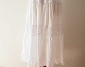 Maxi Skirt White Boho Bohemian Skirt Long Skirt length 35""