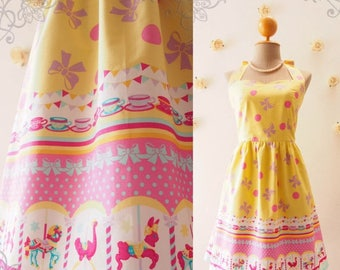Clearance SALE SALE My Carousel Dress Yellow Sundress Easter Dress Yellow Carnival Dress Cute Yellow Summer Dress Circus Bridesmaid Dress...