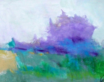 "Horizontal Abstract Landscape Painting, Original On Canvas, Intuitive Art, Modern ""Rain in Late Summer"" 12x24"""