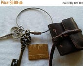 """ON SALE at Etsy Leather Note Book Keychain,Distressed Leather,2""""x 1.5"""",Hand Bound, Fully Functional, Blank Pages,Strap Closure, 2"""" Diameter"""