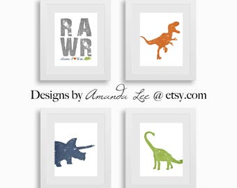 Dinosaur Art Print - Set of Four 8x10 - Dinosaur RAWR - Brachiosaurus - Designer Set 17