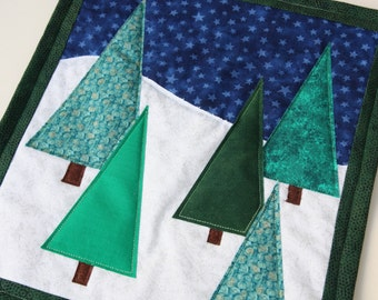 SALE Christmas Tree Snow Scene Quilted Table Topper or Wall Hanging / Mini Art Quilt, Handmade by PingWynny