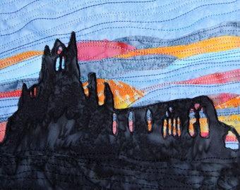 Whitby Abbey Sunset Mounted Fabric Art / Mini Art Quilt Handmade by PingWynny