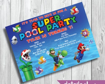 SUPER MARIO BROS Pool Party Invitation, Birthday, Kid's Party, Baby Shower - Digital Download