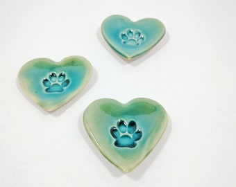 Ceramic Paw Print Heart Dish, Turquoise, Ring Dish, Treat Dish, Gifts for Pet Lovers