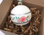 Hand painted floral tree ornament - white 2