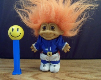 "Troll doll figure - Russ Berrie #18420 - #1 ball player  5"" tall - vintage collectible 1980's toy - Retro Troll doll - Vintage Troll doll"