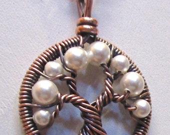 White Pearl Tree of Life, White Swarovski Crystal Pearl Mini Tree of Life, Miniature Tree of Life Necklace