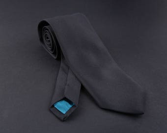 ON SALE -50% !!! Black Classic NeckTie. Skinny and Wide