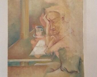 Oil on Canvas Man Thinking