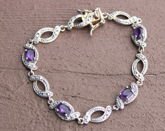 Sterling Silver Amethyst Bracelet Small for Child