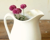 Vintage White Ironstone Pitcher Cream Milk Syrup Pitcher Rustic Farmhouse Display White Dishes Collection
