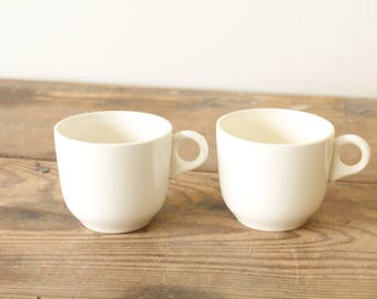 Two Creamy White Restaurant Coffee Cups Vintage Ironstone Mugs Diner Culture USA