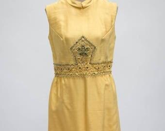 Vintage Yellow Beaded Dress