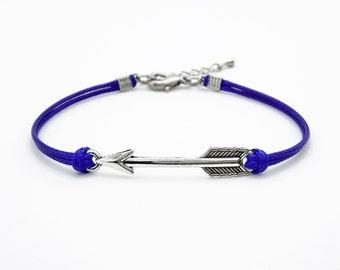 Silver Arrow Bracelet, Royal Blue Bracelet, Waxed Cord Bracelet, Friendship Bracelet, Tribal Bracelet