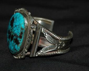 Huge Stunning Navajo Gilbert Tom Hand Wrought Blue Diamond Turquoise Heavy Sterling Bracelet 114 Grams