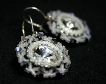 White Bridal Earrings, 925 Silver Earrings, Bride Crystal Earrings, Wedding Earrings, Beaded Earrings, Sparkle Earrings
