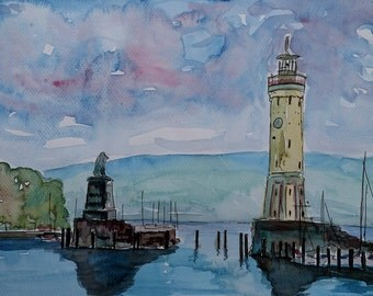 Lindau with Lion and Lighttower on Lake Constance - Limited Edition Fine Art Print