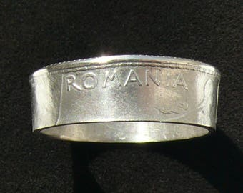 Silver Coin Ring 1914 Romania 1 Leu, Ring Size 7 and Double Sided