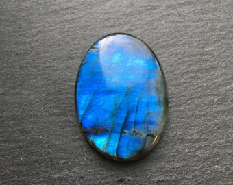Blue flash Labradorite oval flat back cabochon - stone for bezel - stone for jewelry making     Item #17-010609